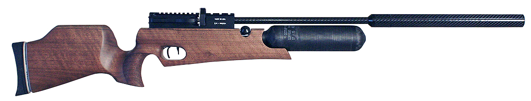 Rapid Air HM1000X .357 Regulated Walnut Right Hand with Carbon Fiber Bottle, Carbon Fiber Barrel Wrap, Quick Fill and Gauge